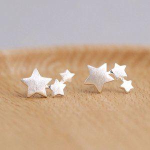 NEW 925 Sterling Silver Star Stud Earrings